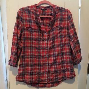 Red Drew Seersucker Plaid Button Up Shirt